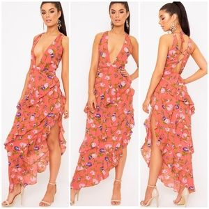 PrettyLittleThing Coral Floral Plunge Maxi Dress